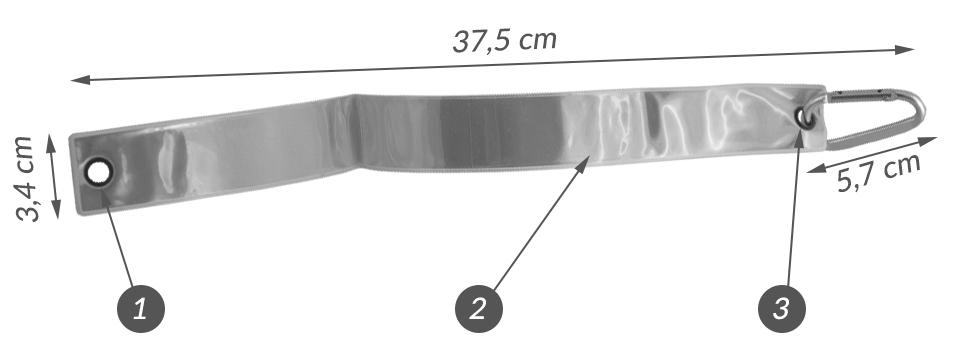 Opaska odblaskowa 37 cm z karabińczykiem